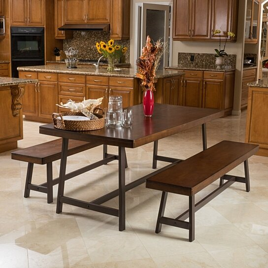 Country Dining Table With Bench: Buy Archer 2-benches & Table Country Style Folding Dining