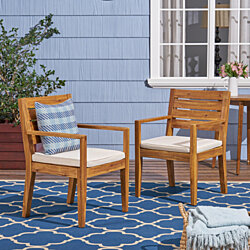 Arely Outdoor Acacia Wood Dining Chairs(Set of 2)