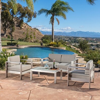 Denise Austin Home Sonora Outdoor Aluminum 4-piece Loveseat Set with Cushions