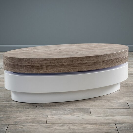 Buy Arlo Oval Mod Rotatable Coffee Table With Sonoma Top By GDFStudio On  Dot U0026 Bo