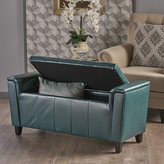Buy Arthur Armed Teal Pu Storage Ottoman Bench By