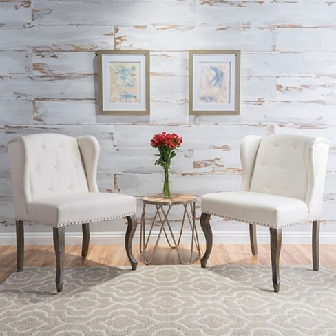 Asheville Modern Fabric Wingback Chair (Set of 2)