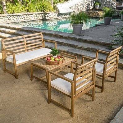 Aster Outdoor 4-piece Wood Chat Set with Cushions