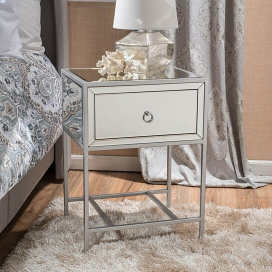 buy athena mirrored silver 1 drawer side table by gdfstudio on dot bo. Black Bedroom Furniture Sets. Home Design Ideas