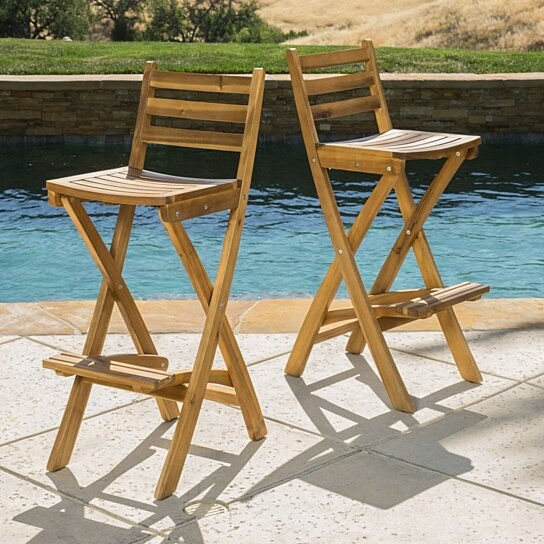 Buy Atlantic Outdoor Folding Wood Bar Stools Set Of 2 By Gdfstudio On Dot Bo