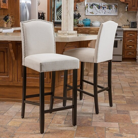 Buy Auburn 30 Inch Ivory Fabric Backed Barstool Set Of 2 By