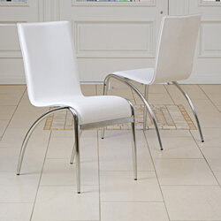 Aude White Modern Chairs (Set of 2)