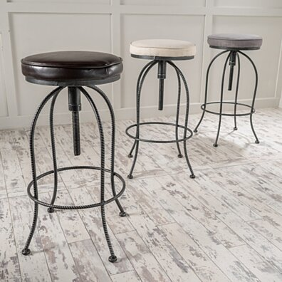 Banksy Industrial Design Metal Barstool with Height Adjustable Cushion Seat