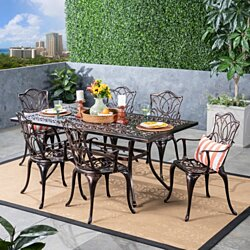 Barbara Outdoor 6-Seater Cast Aluminum Rectangular-Table Dining Set, Shiny Copper