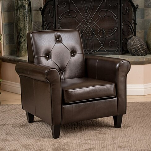 Barzini Brown Leather Club Chair