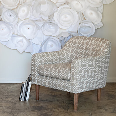Bellview Grey/White Fabric Retro Chair