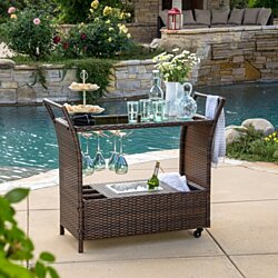 Benett Outdoor Wicker Bar Cart with Tempered Glass Top