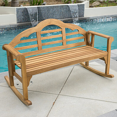 Benita Outdoor Natural Stained Wood Rocking Bench