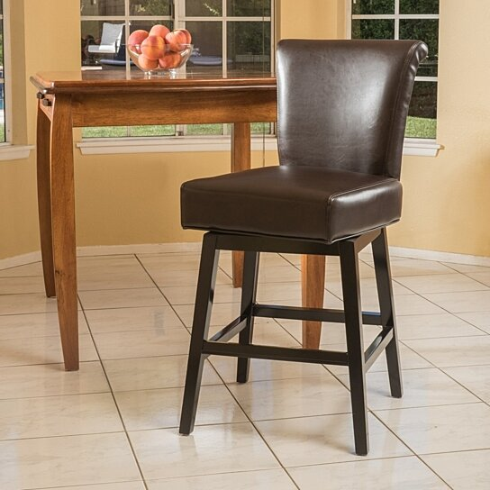 Buy Bergen 27 Inch Dark Brown Leather Swivel Counter Stool By