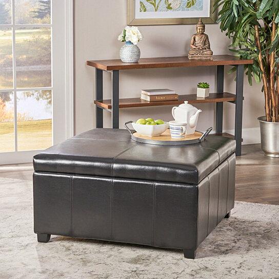 Enjoyable Berkeley Espresso Leather Storage Ottoman Coffee Table Beatyapartments Chair Design Images Beatyapartmentscom