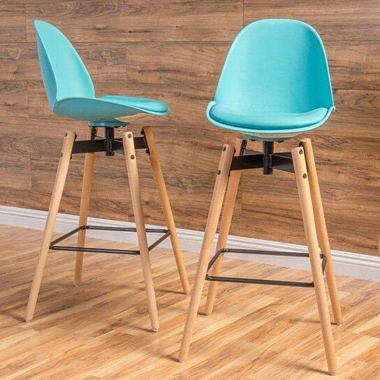 Astounding Berrol 30 Inch Contemporary Light Blue Bar Stools Set Of 2 Inzonedesignstudio Interior Chair Design Inzonedesignstudiocom