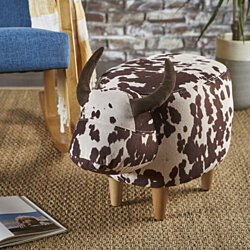 Bertha Milk Cow Patterned Velvet Ottoman