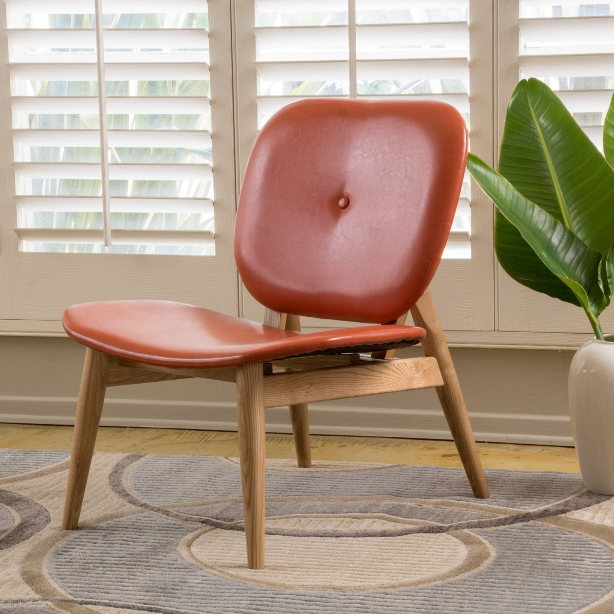 Betop Burnt Orange Leather Accent Chair