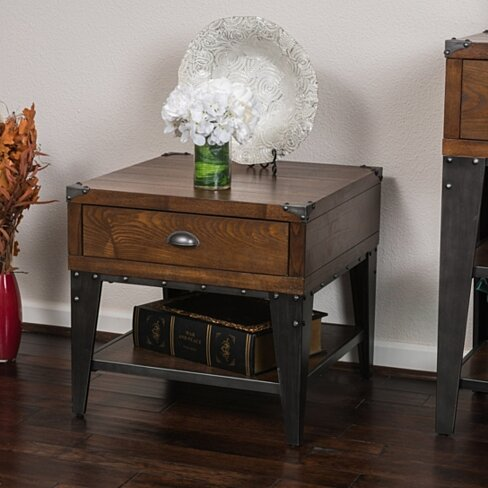 Bishop Dark Oak Color Ash Veener Side Table