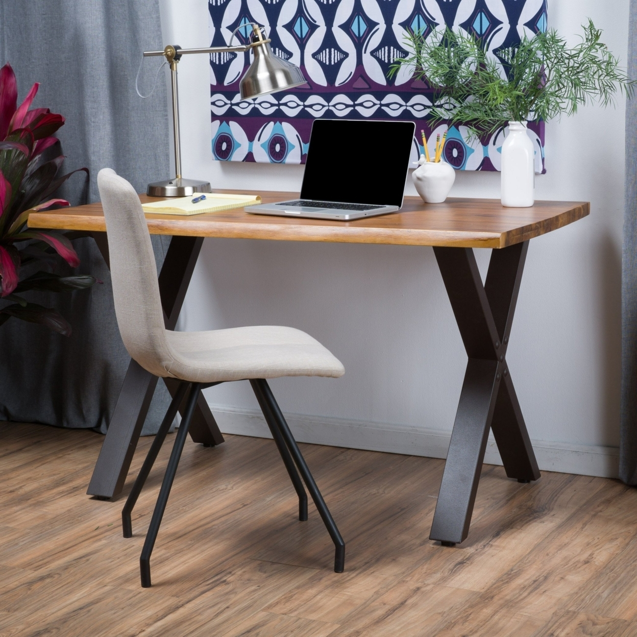 Denise Austin Home Fitzgerald Acacia Wood Computer Desk