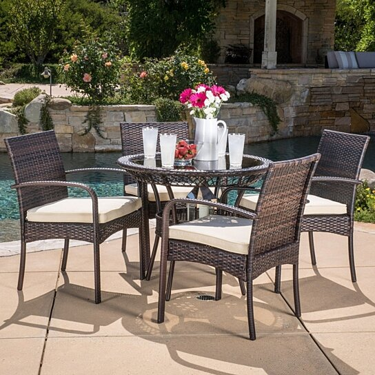 Buy blake outdoor 5 piece wicker dining set with cushions for Great deals on outdoor furniture