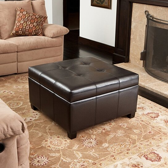 Buy Boston Espresso Brown Tufted Leather Storage Ottoman Coffee Table By Gdfstudio On Dot Bo