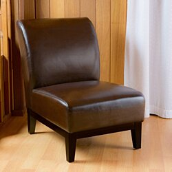 Brakar Brown Leather Armless Chair
