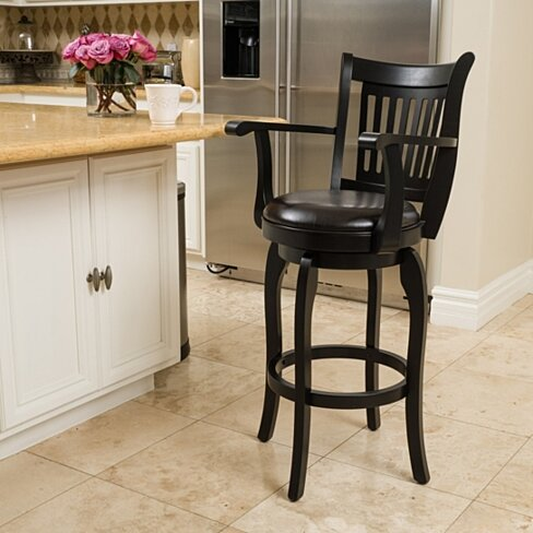 Brook 31-Inch Armed Espresso Leather Swivel Barstool