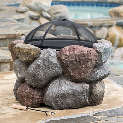 Bryson Outdoor Natural Stone Liquid Propane Fire Pit