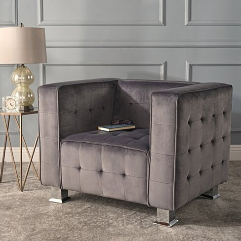 Bunta Tufted Modern Deco New Velvet Armchair