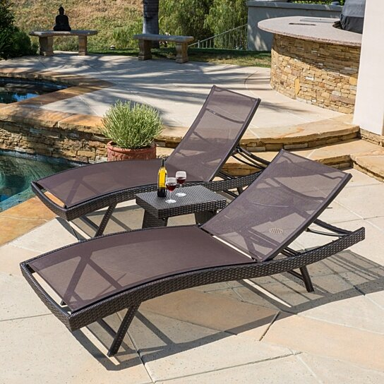 Trending Product This Item Has Been Added To Cart 48 Times In The Last 24 Hours Burnham Outdoor 3pc Brown Mesh Chaise Lounge Chairs Set