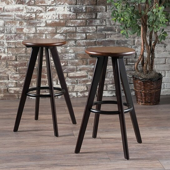 Incredible Byre 30 Inch Traditional Wood Finished Bar Stools Set Of 2 Pdpeps Interior Chair Design Pdpepsorg