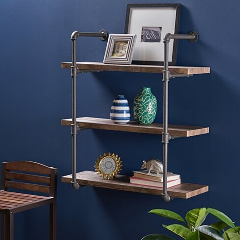 Caden Industrial Three Tier Faux Wood Wall-Mounted Shelf, Dark Brown Finish