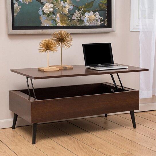 Buy Caleb Mahogany Wood Lift Top Storage Coffee Table By Gdfstudio