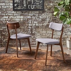 Caleb Mid-Century Walnut Finished Frame Dining Chairs (Set of 2)