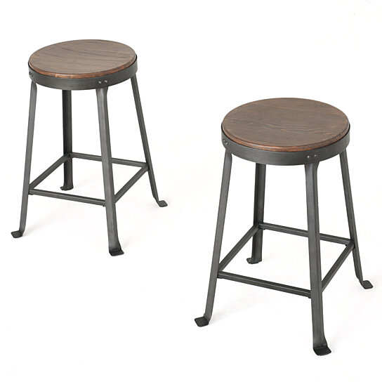 Buy Camden 24 Inch Brown Weathered Wood Counter Stool Set Of 2 By