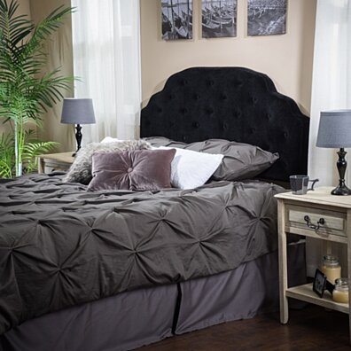 Canton Queen to Full Black Suede Headboard