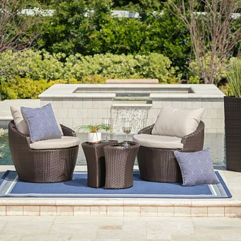 Capetown Outdoor 3PC Brown Wicker Chat Set w/Water Resistant Cushions