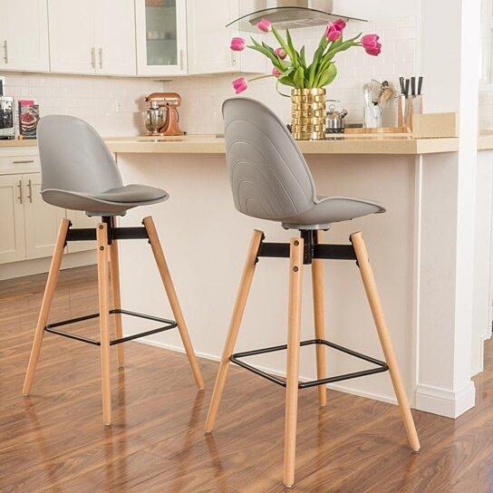 Pleasing Carimas 30 Inch Contemporary Grey Bar Stool Inzonedesignstudio Interior Chair Design Inzonedesignstudiocom