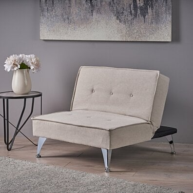 Carimote Contemporary Ivory Fabric Click Clack Chair/Ottoman