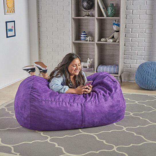 Strange Cassell Purple Fabric 4 Foot Lounge Beanbag Chair Machost Co Dining Chair Design Ideas Machostcouk