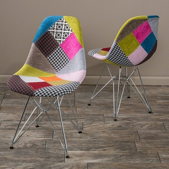 Orange Kitchen Table And Chairs: Buy Cassius Multi-Color Patchwork Fabric Chairs (Set Of 2