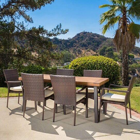 Buy castlelake 7 piece outdoor dining set wood table w for Great deals on outdoor furniture