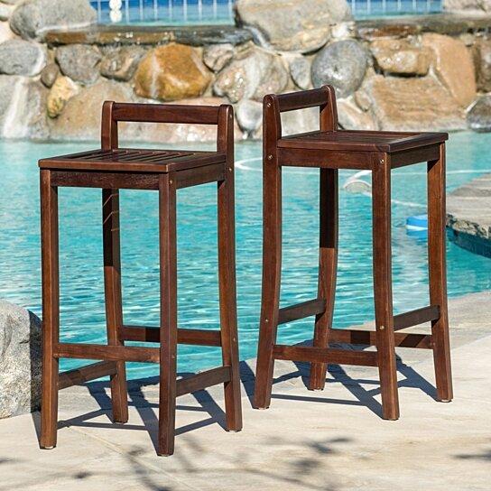 Buy Catrina 30 Inch Mahogany Stained Wood Bar Stools Set Of 2 By