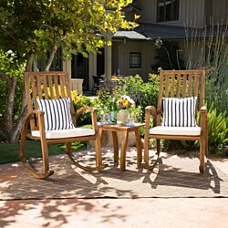 Cattan Outdoor Natural Stained Acacia Wood Rocking Chair Chat Set
