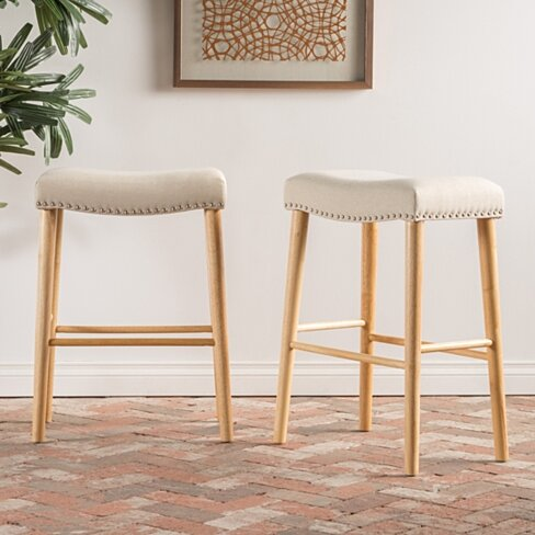 Cavalia Fabric Studded Rim Barstool (Set of 2)