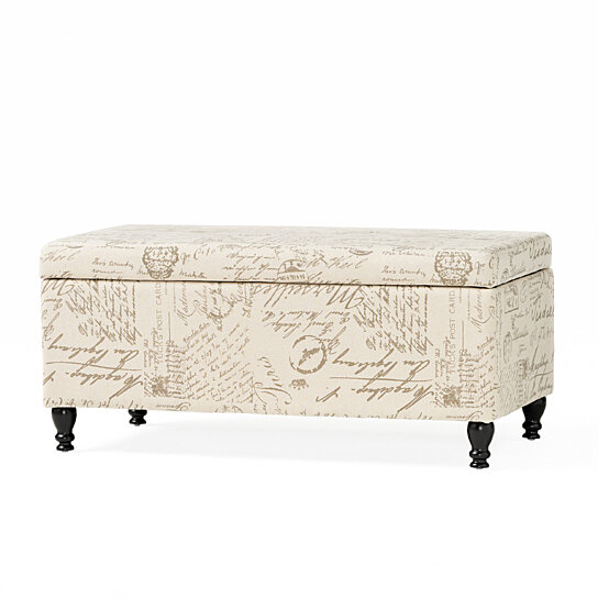 Cerise Fabric Storage Ottoman Bench With French Script By Gdfstudio On Dot Bo