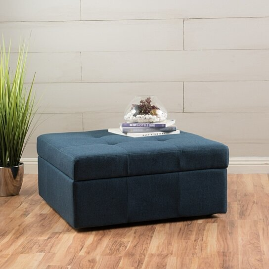 Buy Channing Navy Blue Fabric Tufted Cover Storage Ottoman