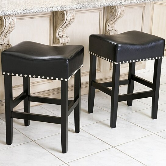 Chantal 26 Inch Black Leather Counter Stool Set Of 2