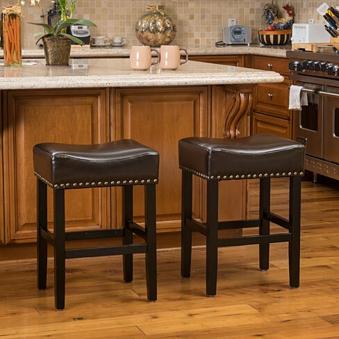 Chantal Bonded Leather Studded Accent Bar stools (Set of 2)